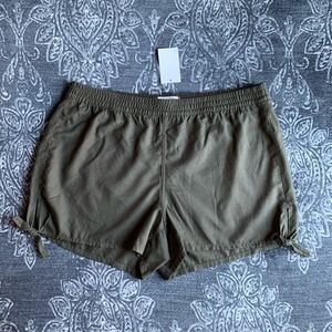 Madewell Side Tie Soft Shorts In Foliage Green L